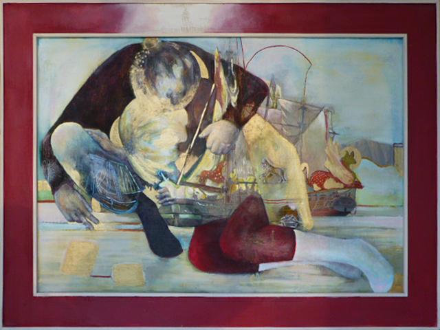 """Schiffe"", Öl und Acryl auf Leinwand, 110x150cm, 2013"