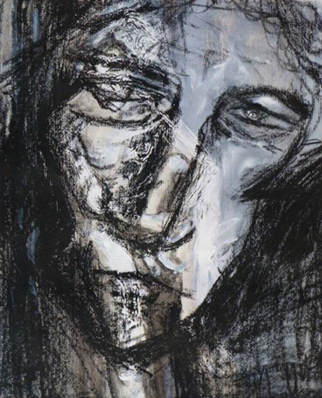 """""""Lazlo"""", Acryl und Wachs auf Papier, 50x40cm, 2005"""