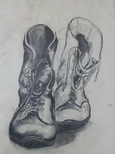"""Stiefel"", Kohle auf Papier, DinA3, 2006"