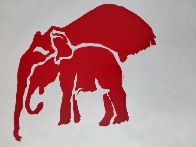 """""""Elefanten"""", Linioldruck auf Papier, DinA4, 2008"""