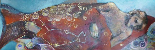 """Goldfisch"", Acryl auf Leinwand, 30x100cm, 2013"