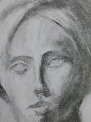 """""""Portrait"""", Kohle auf Papier, DinA4, 2002"""