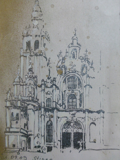 """Kathedrale"", Fineliner auf Papier, DinA5, 2009"