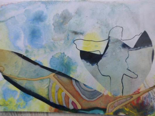 """Flugstunden"", Aquarell und Seide auf Papier, DinA6, 2012"