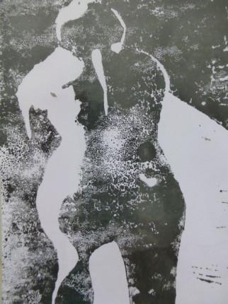 """""""Badende"""", Linoldruck auf Papier, DinA6, 2008"""